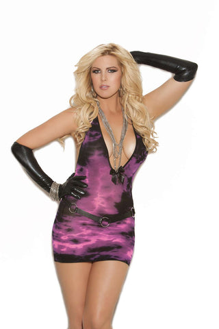 Deep V tie dye mini dress  Black/Pink Queen Size