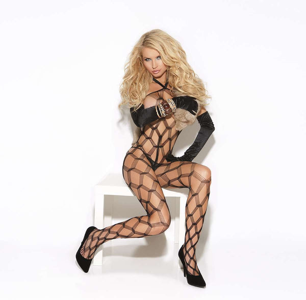 Diamond net bodystocking Black One Size