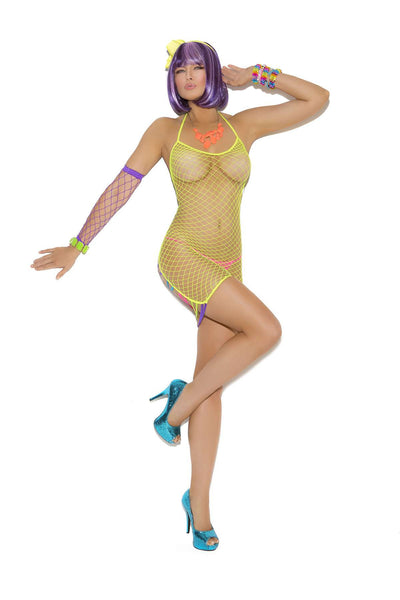 Diamond net mini dress with strappy back detail Chartreuse One Size