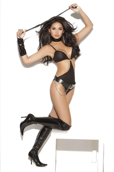 Domina - Opaque teddy, glove and choker Black One Size