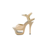 "6"" Cut Out Platform Sandal-Bone Patent PU-ENVY-11"