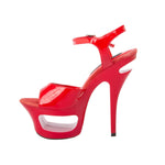 "6"" Cut Out Platform Sandal-Red Patent PU -ENVY-11"