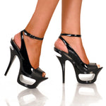 "6"" Cut Out Platform Sandal With Patent Upper-Black Kid PU-ENVY-3""1"