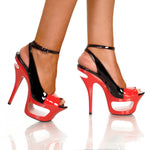 "6"" Cut Out Platform Sandal With Patent Upper-Black/Red Combo-ENVY-3""1"