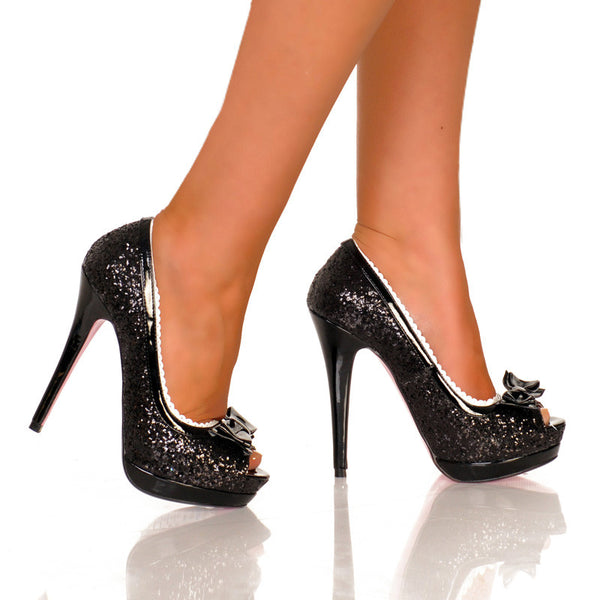 "5""Covered Platform Open Toe Glitter Pump-Black Glitter PU-ETERNITY-21"