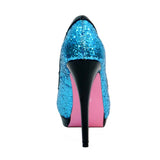 "5""Covered Platform Open Toe Glitter Pump-Turquoise Glitter PU-ETERNITY-21"
