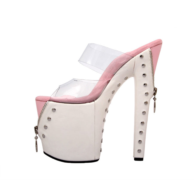 "7""1/2Platform With ZipperJacketOver Platform-White/Pink Combo-EXPOSED-11"