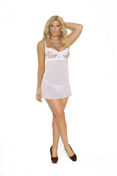 Plus Size Embroidered mesh babydoll with underwire cups, adjustable  straps and back closure Matching g-string included  White
