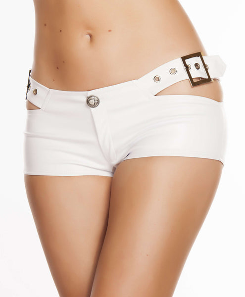 Eyelet Strapped Leatherette Shorts w/ Buckle & Button Detail