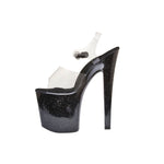 "7 1/2"" Platform With Clear Upper & Black Glitter Bottom"