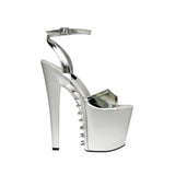 "7 1/2"" Open Toe Platform With Ankle Wrap And Spiked Cover"