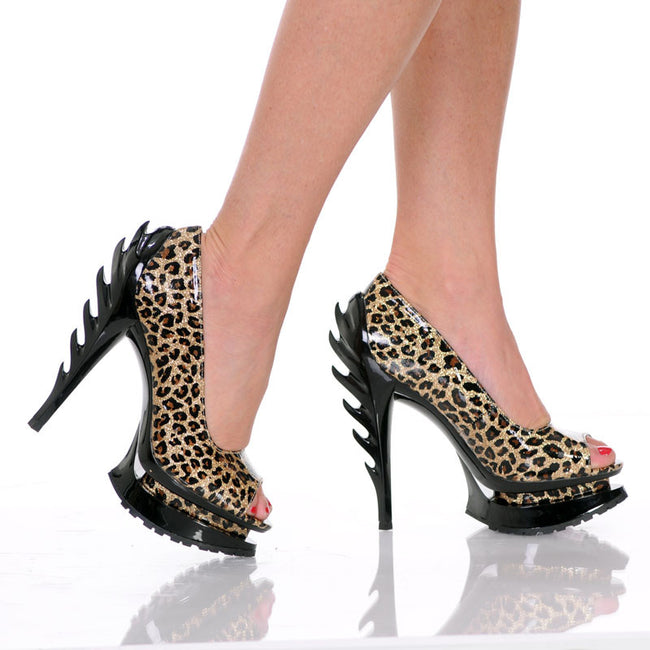 "5""Flame Heel Pump With Open Toe On Tractor Outsole-Gold Leopard Glitter-FLAME-21"