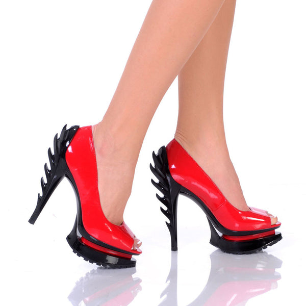 "5""Flame Heel Pump With Open Toe On Tractor Outsole-Red Patent PU -FLAME-21"