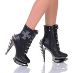 "5"" Flame Heel Ankle Boot With Metal Stud Cross Embellishment"