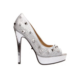 "5"" Open Toe Rhinestone Pump With Spike Detail"