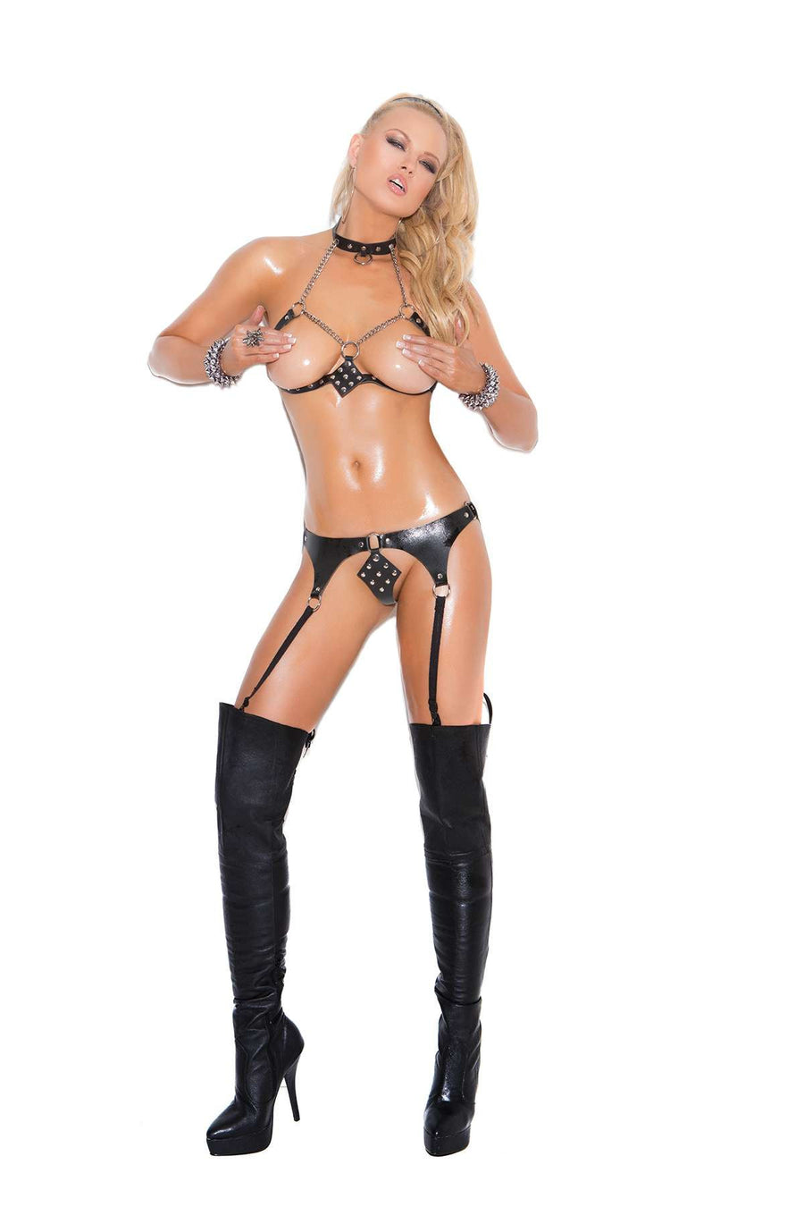 2 piece set Leather and chain bra and matching garter belt  with attached g-string Bra has adjustable back closure  Garters are adjustable *Available Boxed Black