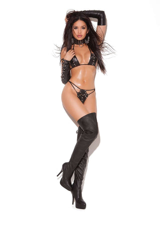 3 piece set Leather string bra top and g-string with nail  heads Matching lace up gloves with nail heads  *Available  Boxed Black