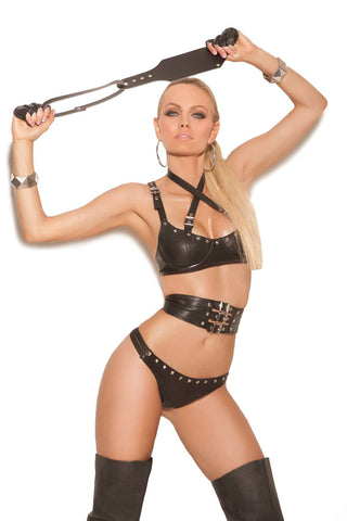 3 piece set Leather underwire bra with criss cross straps  with buckle detail, adjustable straps and back closure  Waist cincher with adjustable buckle detail Matching panty  included *Available Boxed Black