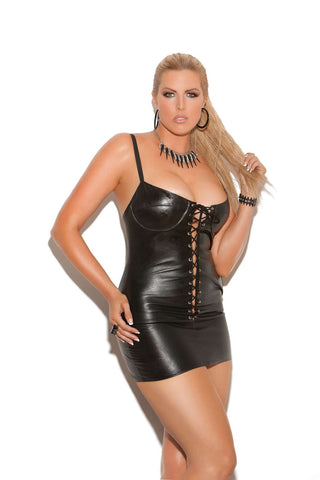 Plus Size Lace up leather mini dress Adjustable straps and underwire  bra Leather back Black