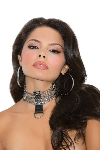 Leather and chain choker *Available Boxed Black