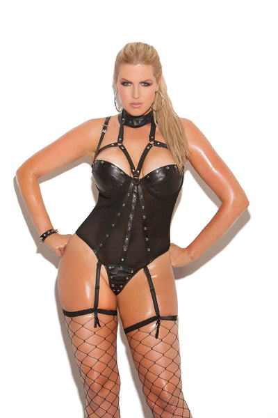 Plus Size Leather and fishnet underwire teddy with thong back  Adjustable and detachable garters  Black