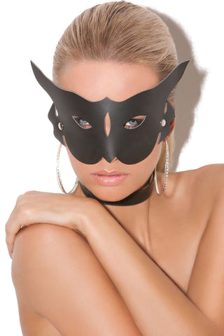 Leather cat mask  Black