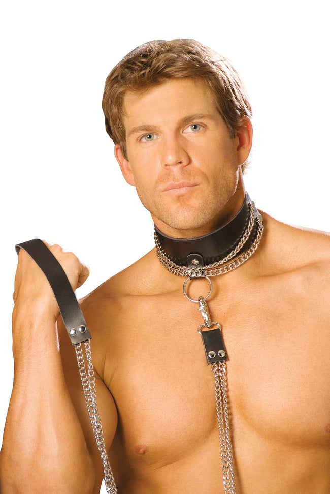 Leather choker with chain and detachable leash *Available Boxed Black