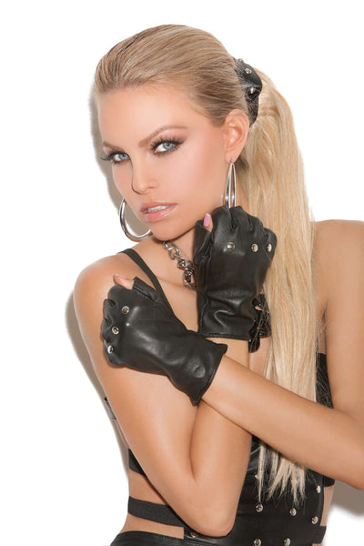 Leather fingerless gloves with nail heads  Black