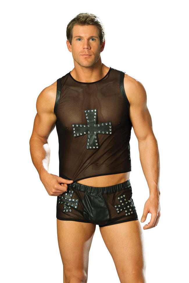 Mesh tank top with leather cross trimmed in nail heads  Black