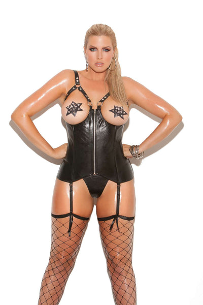Plus Size Open bust leather corset with zipper front, boning, and adjustable straps Leather back with lace up detail  Black