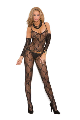 Plus Size Bow tie lace bodystocking with gloves and open crotch Black