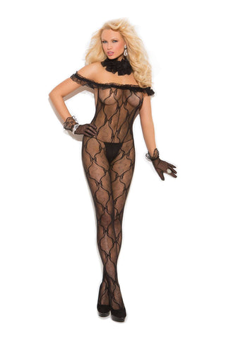Plus Size Bow tie lace bodystocking with ruffle top and open crotch Black
