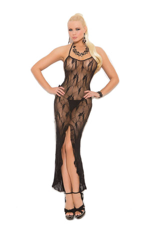 Butterfly lace slip style gown with front slit Black