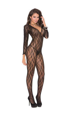 Deep V long sleeve bodystocking with open crotch Black