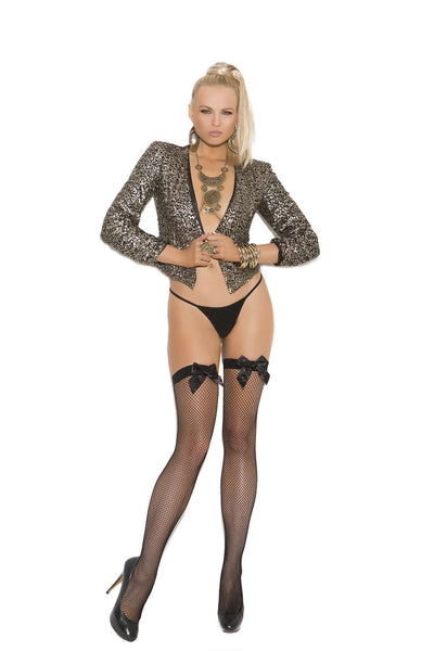 Fishnet thigh hi with satin bow  Black