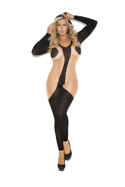 Plus Size Hooded long sleeve bodystocking with open crotch Black/Nude