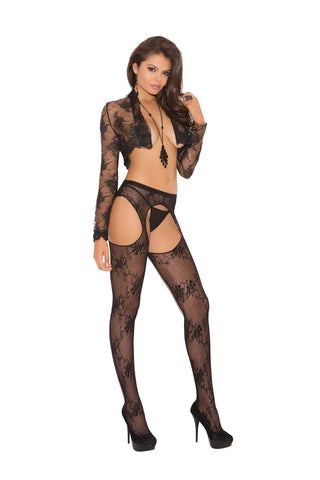 Plus Size Lace suspender pantyhose  Black