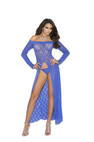 Long sleeve lace gown with front slit and  g-string Royal