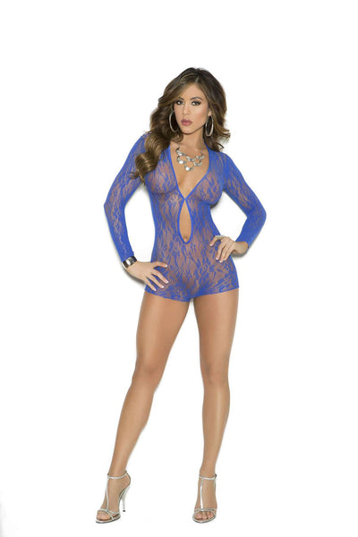 Long sleeve lace romper with keyhole front  Royal