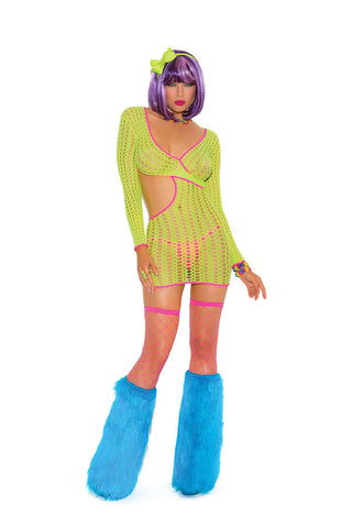 """Neon Nites"" Crochet long sleeve mini dress with cut out side *Available Boxed Neon"