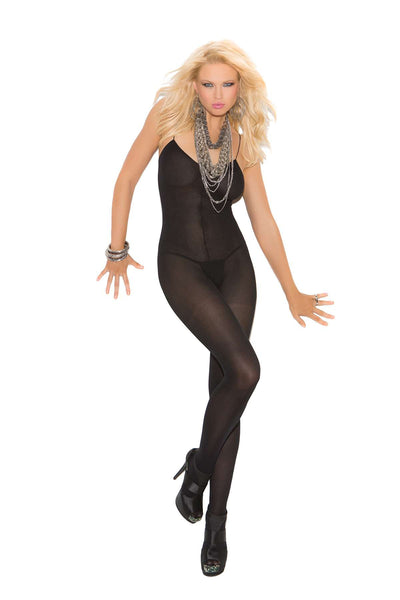 Opaque bodystocking with spaghetti straps and open crotch  Black