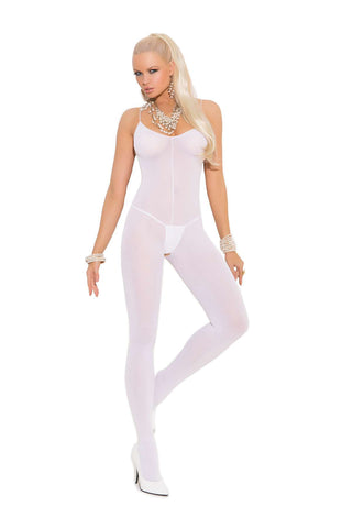 Plus Size Opaque bodystocking with spaghetti straps and open crotch  White