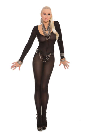 Plus Size Opaque long sleeve bodystocking with open  crotch   Black