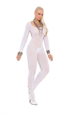 Plus Size Opaque long sleeve bodystocking with open  crotch   White