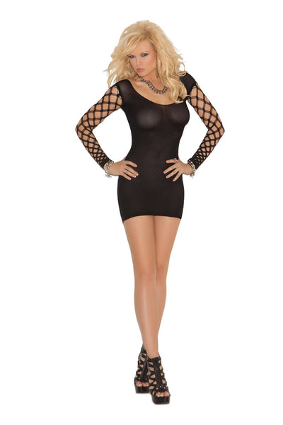 Opaque mini dress with diamond net sleeves  Black