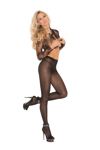 Opaque sheer to waist pantyhose with cotton crotch Black
