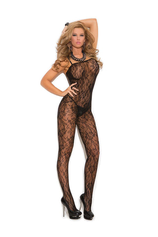 Plus Size Rose lace bodystocking with open crotch  Black