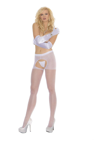 Plus Size Sheer crotchless pantyhose White