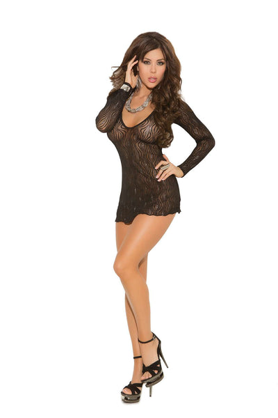 Plus Size Sparkle swirl lace deep V mini dress with long sleeves  Black