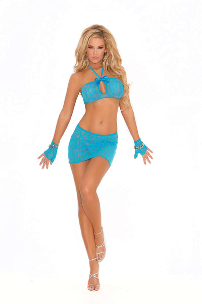 Three piece set Lace cami top with keyhole front, mini skirt and matching gloves  Turquoise
